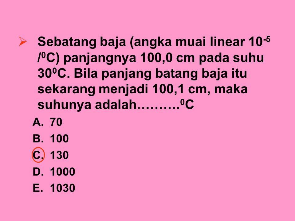Sebatang baja (angka muai linear 10-5 /0C) panjangnya 100,0 cm pada suhu 300C. Bila panjang batang baja itu sekarang menjadi 100,1 cm, maka suhunya adalah……….0C