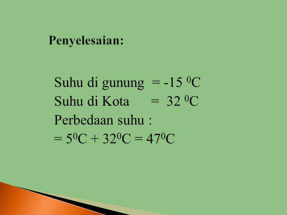 Penyelesaian: Suhu di gunung = -15 0C Suhu di Kota = 32 0C Perbedaan suhu : = 50C + 320C = 470C