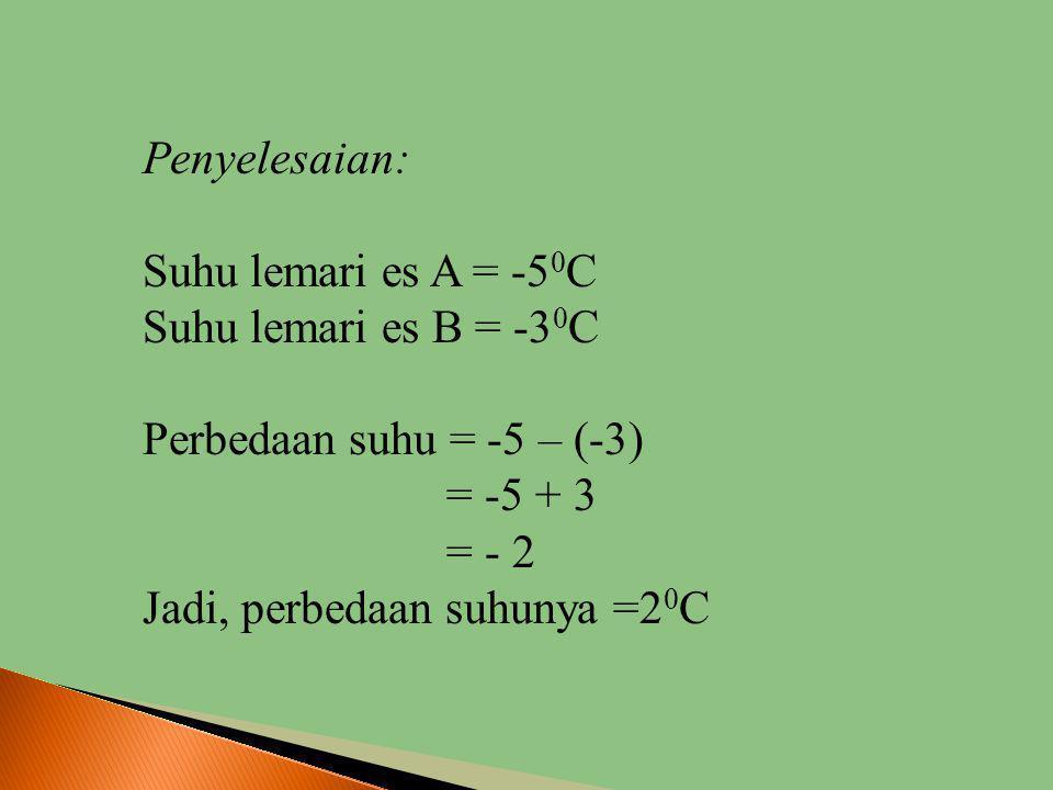 Penyelesaian: Suhu lemari es A = -50C. Suhu lemari es B = -30C. Perbedaan suhu = -5 – (-3) = -5 + 3.