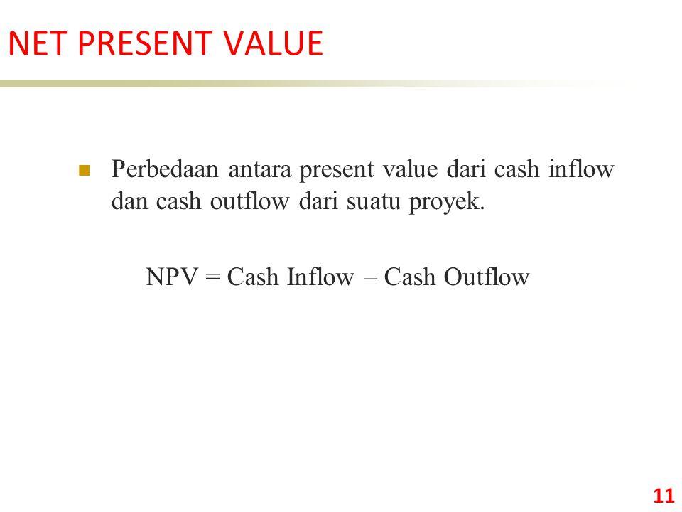 NET PRESENT VALUE Perbedaan antara present value dari cash inflow dan cash outflow dari suatu proyek.