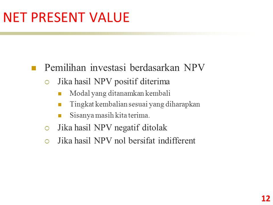 NET PRESENT VALUE Pemilihan investasi berdasarkan NPV