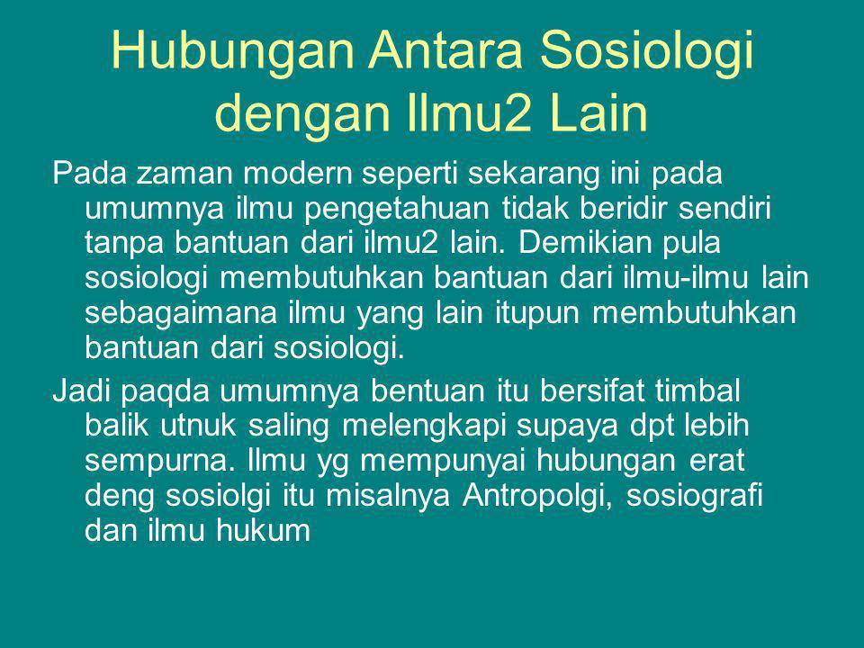 Hubungan Antara Sosiologi dengan Ilmu2 Lain