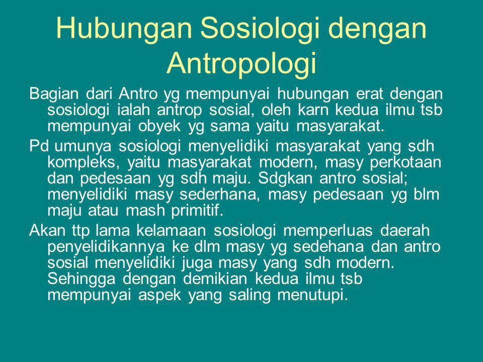 Hubungan Sosiologi dengan Antropologi