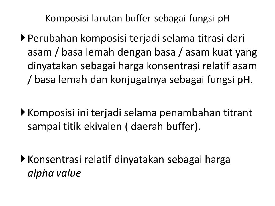 Komposisi larutan buffer sebagai fungsi pH