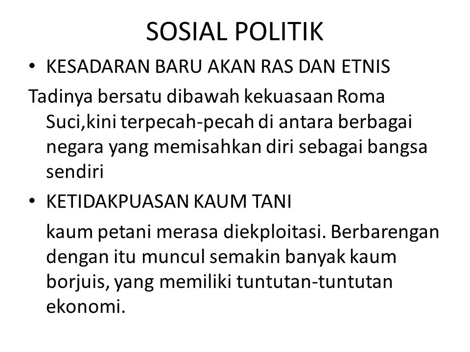 SOSIAL POLITIK KESADARAN BARU AKAN RAS DAN ETNIS
