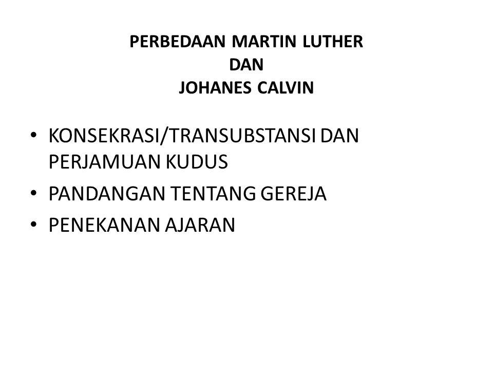 PERBEDAAN MARTIN LUTHER DAN JOHANES CALVIN