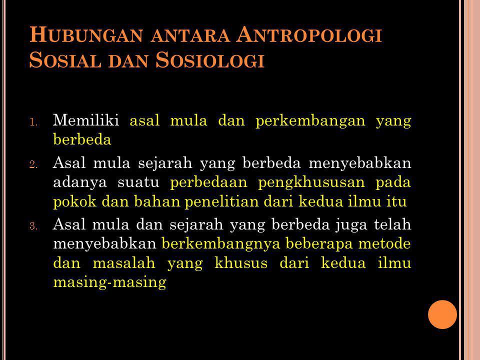 Hubungan antara Antropologi Sosial dan Sosiologi
