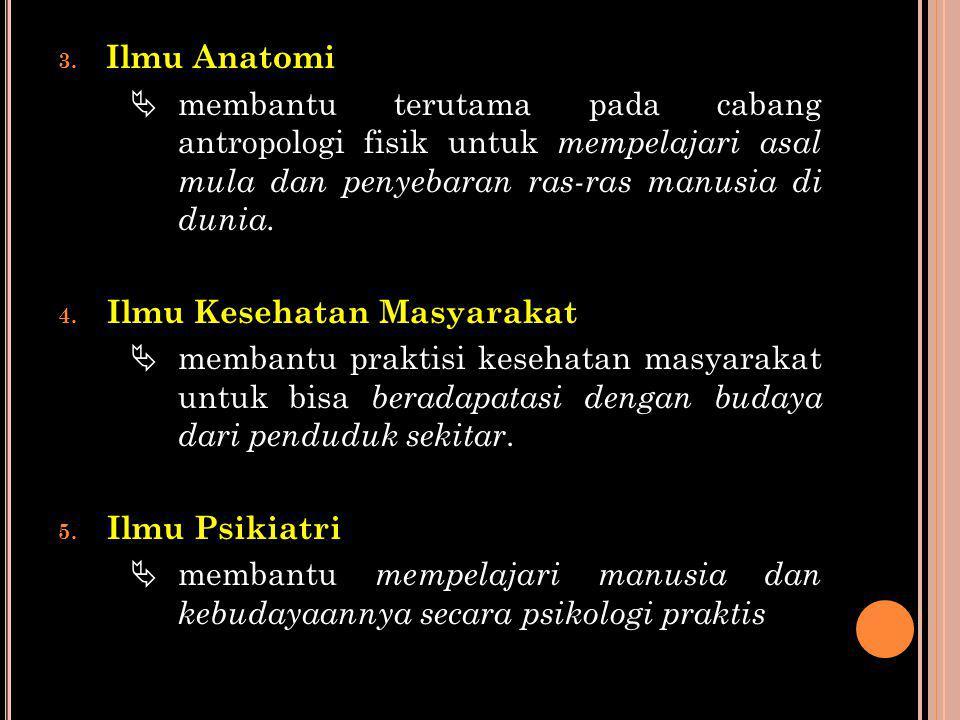 Ilmu Anatomi  membantu terutama pada cabang antropologi fisik untuk mempelajari asal mula dan penyebaran ras-ras manusia di dunia.