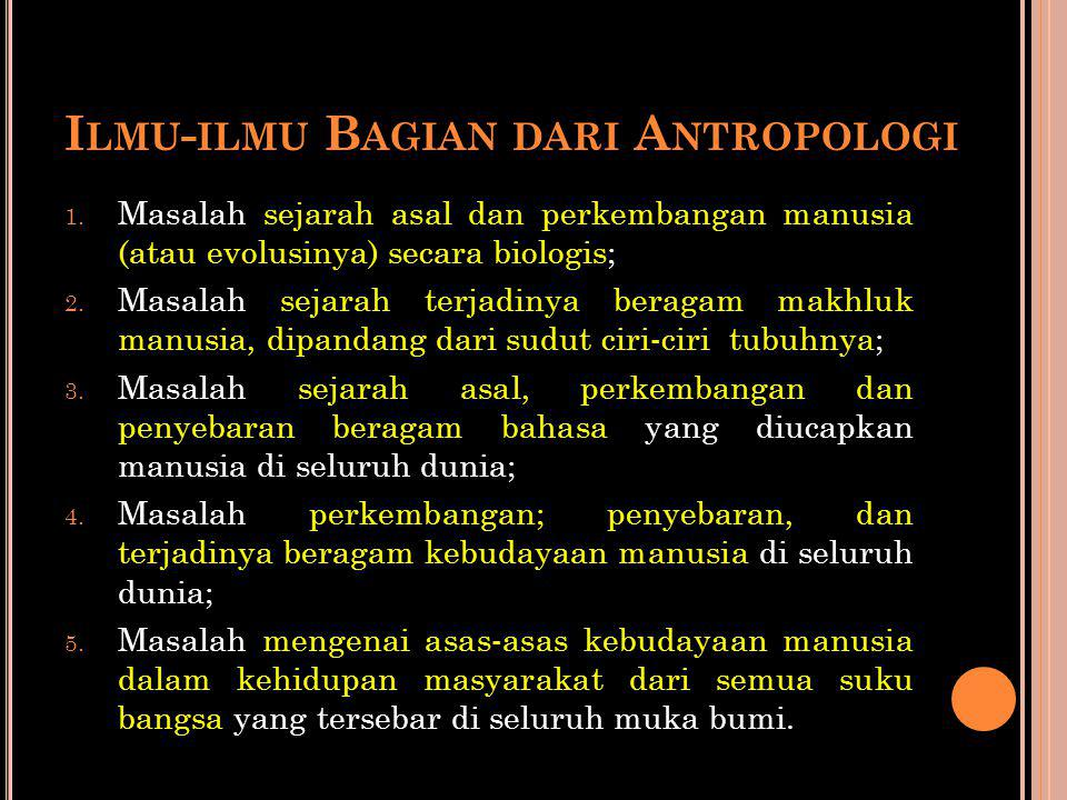 Ilmu-ilmu Bagian dari Antropologi
