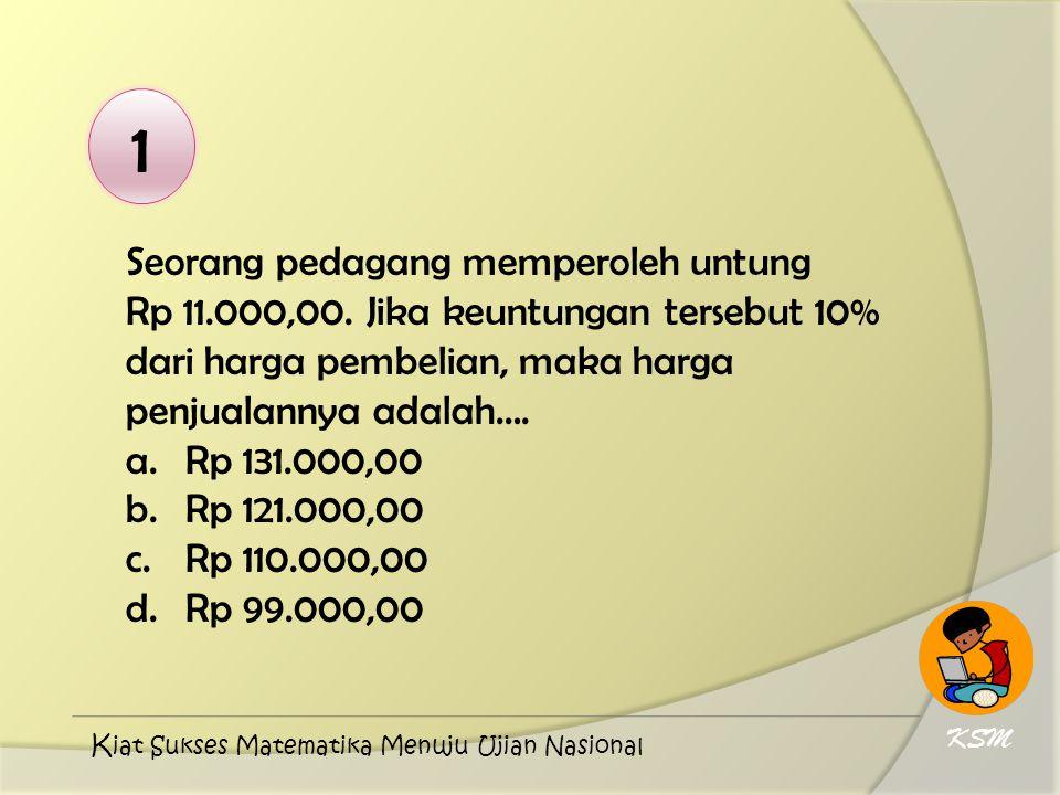 1 Seorang pedagang memperoleh untung Rp 11.000,00. Jika keuntungan tersebut 10% dari harga pembelian, maka harga penjualannya adalah….