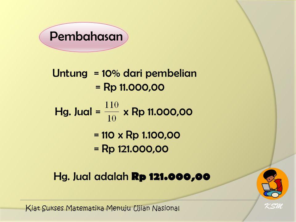 Pembahasan Untung = 10% dari pembelian = Rp 11.000,00