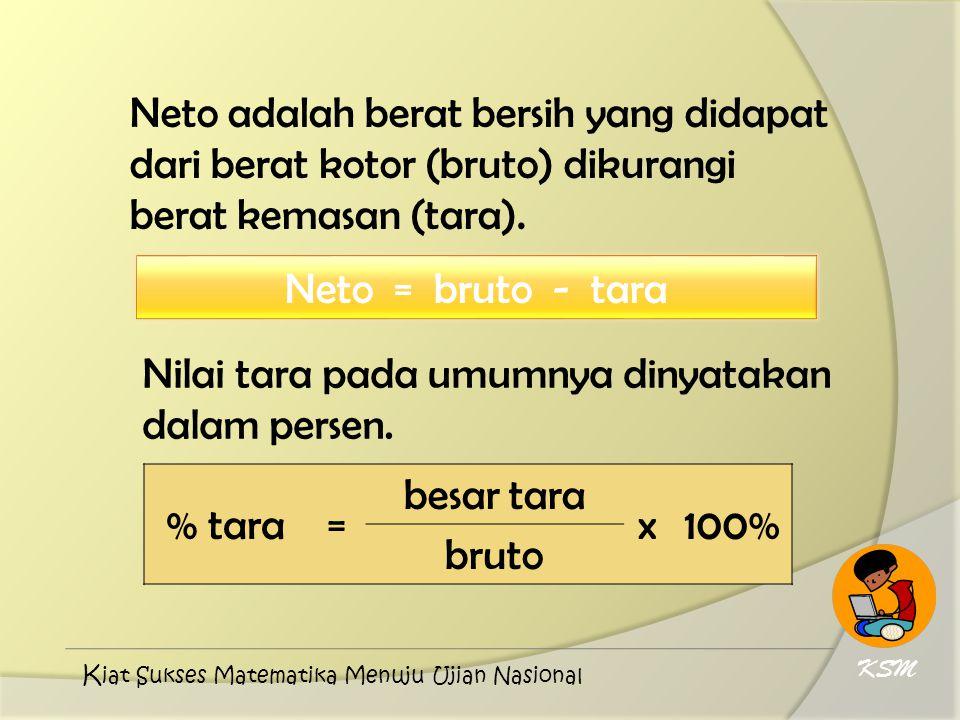 Nilai tara pada umumnya dinyatakan dalam persen. % tara = besar tara x