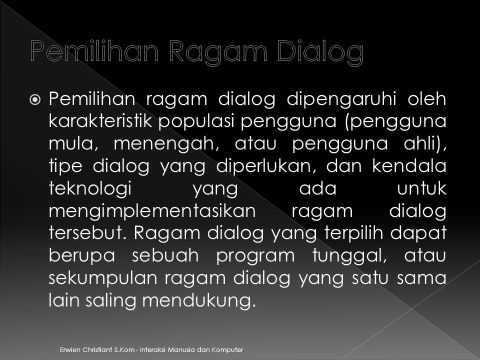 Pemilihan Ragam Dialog