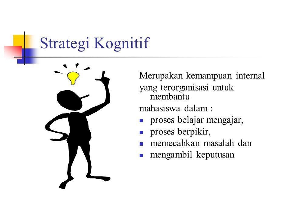 Strategi Kognitif Merupakan kemampuan internal