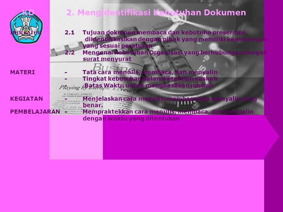 KD 2. Mengidentifikasi Kebutuhan Dokumen