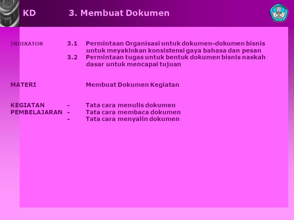 KD 3. Membuat Dokumen INDIKATOR 3.1 Permintaan Organisasi untuk dokumen-dokumen bisnis. untuk meyakinkan konsistensi gaya bahasa dan pesan.
