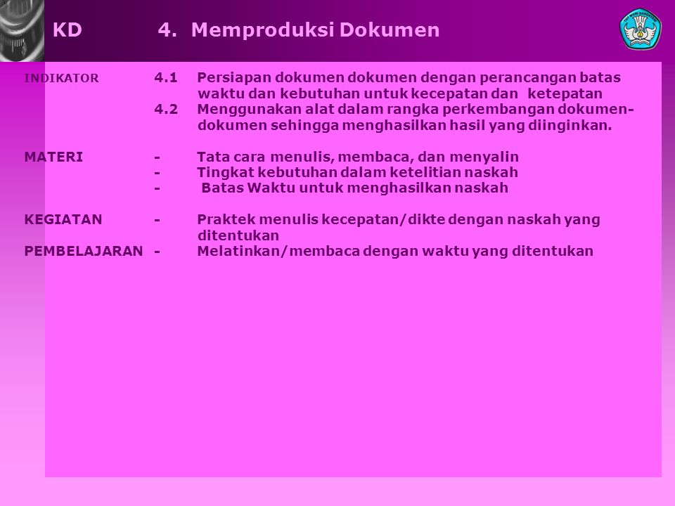 KD 4. Memproduksi Dokumen