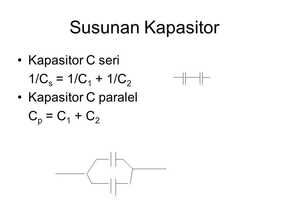 Susunan Kapasitor Kapasitor C seri 1/Cs = 1/C1 + 1/C2