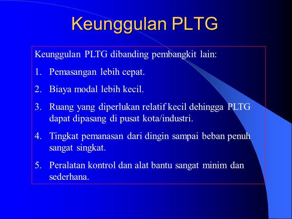Keunggulan PLTG Keunggulan PLTG dibanding pembangkit lain: