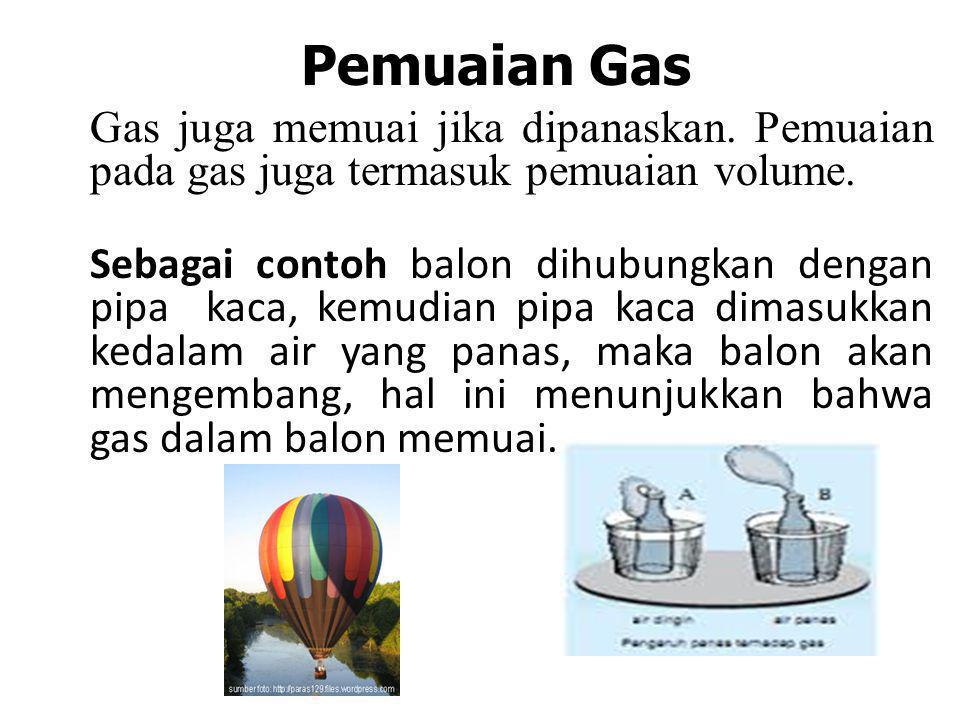 Pemuaian Gas Gas juga memuai jika dipanaskan. Pemuaian pada gas juga termasuk pemuaian volume.