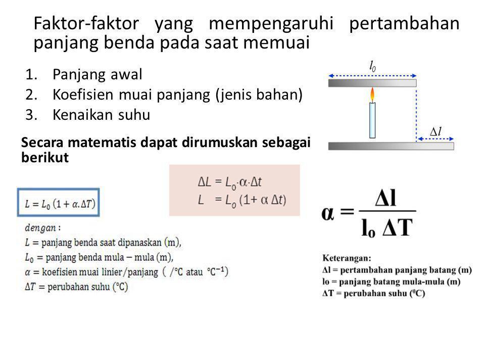 Faktor-faktor yang mempengaruhi pertambahan panjang benda pada saat memuai