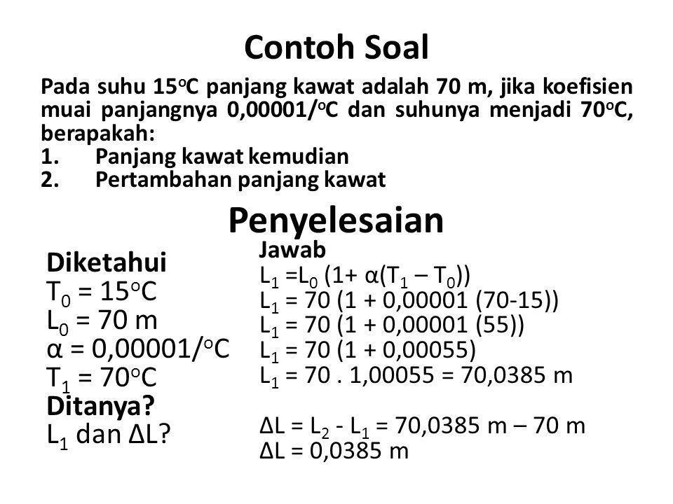 Penyelesaian Contoh Soal Diketahui T0 = 15oC L0 = 70 m α = 0,00001/oC