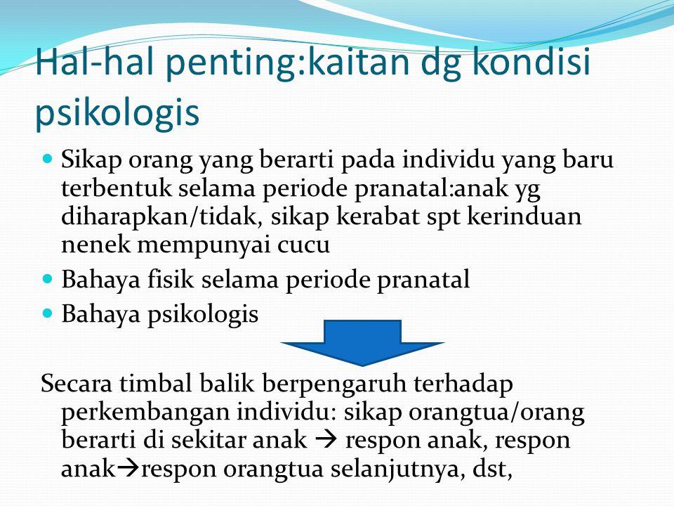 Hal-hal penting:kaitan dg kondisi psikologis