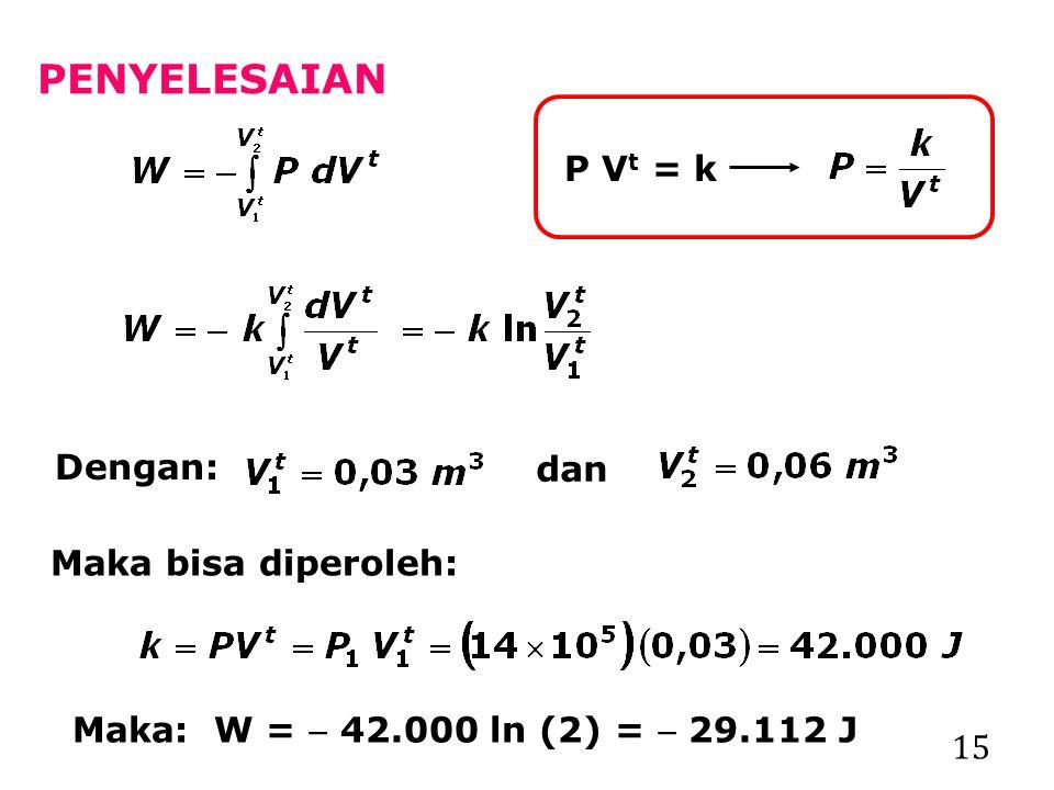 PENYELESAIAN P Vt = k Dengan: dan Maka bisa diperoleh:
