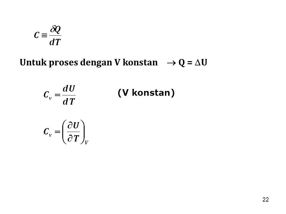 Untuk proses dengan V konstan  Q = U