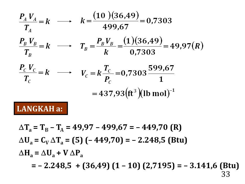 LANGKAH a: Ta = TB – TA = 49,97 – 499,67 = – 449,70 (R) Ua = CV Ta = (5) (– 449,70) = – 2.248,5 (Btu)