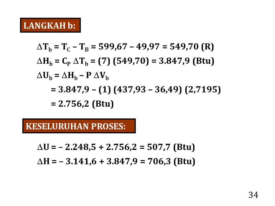 LANGKAH b: Tb = TC – TB = 599,67 – 49,97 = 549,70 (R) Hb = CP Tb = (7) (549,70) = 3.847,9 (Btu)