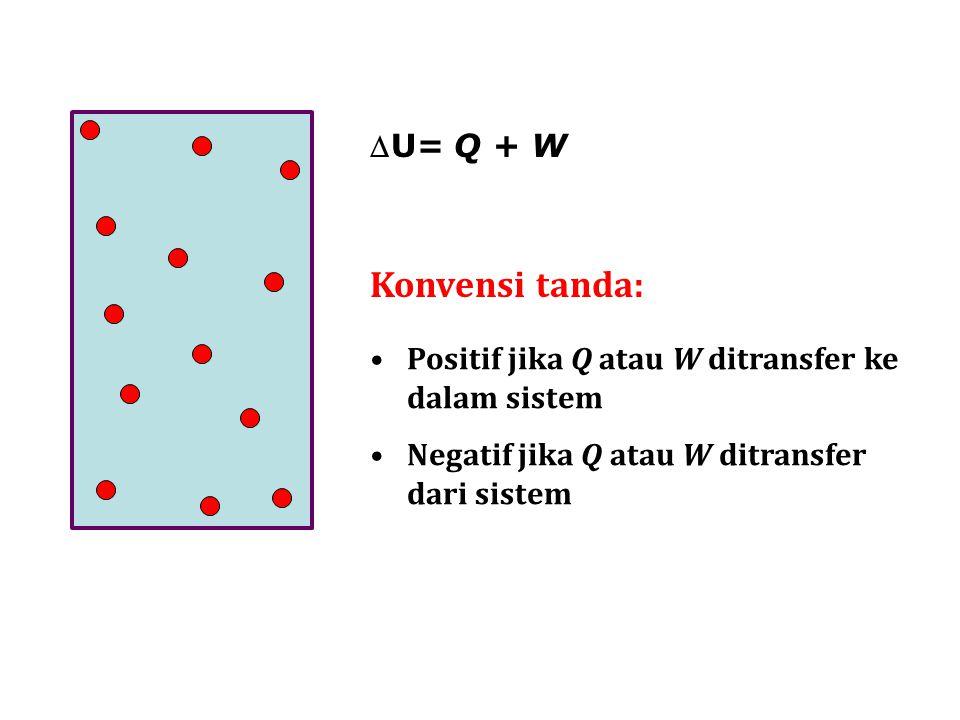 Konvensi tanda: U= Q + W