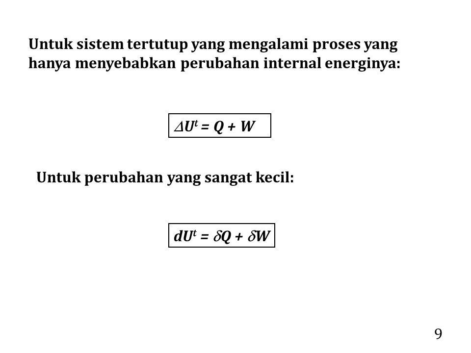 Untuk sistem tertutup yang mengalami proses yang hanya menyebabkan perubahan internal energinya: