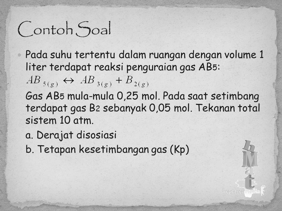 Contoh Soal Pada suhu tertentu dalam ruangan dengan volume 1 liter terdapat reaksi penguraian gas AB5: