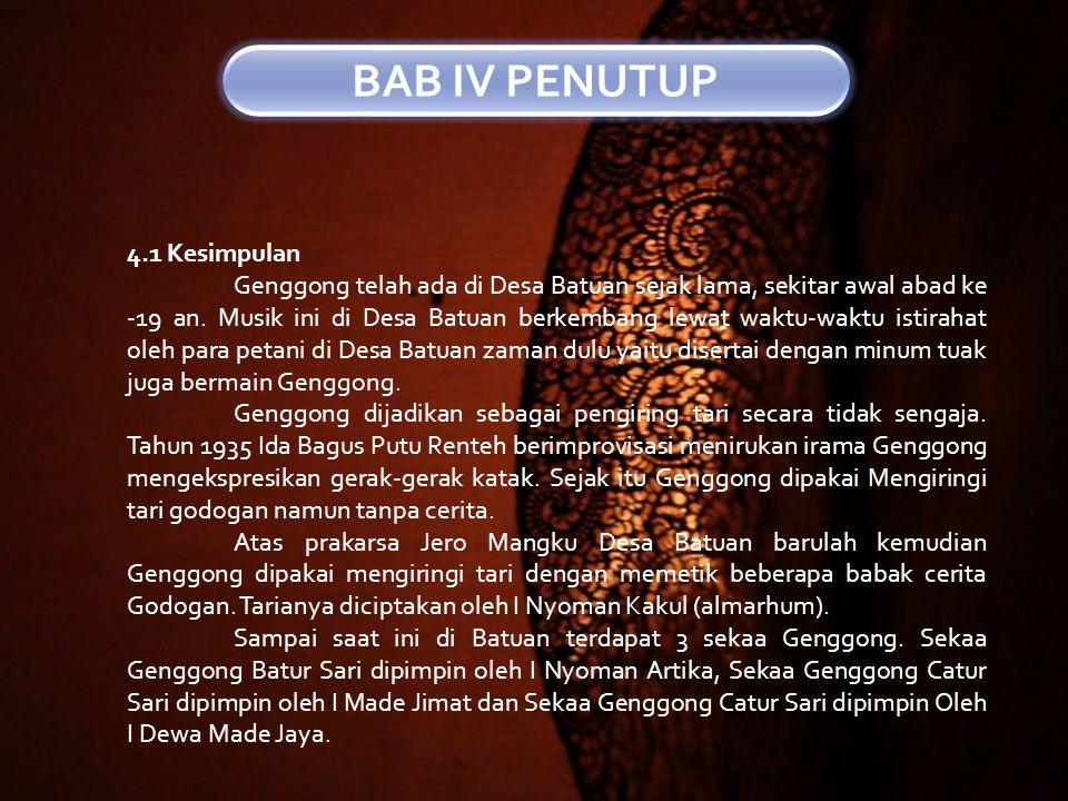 BAB IV PENUTUP 4.1 Kesimpulan