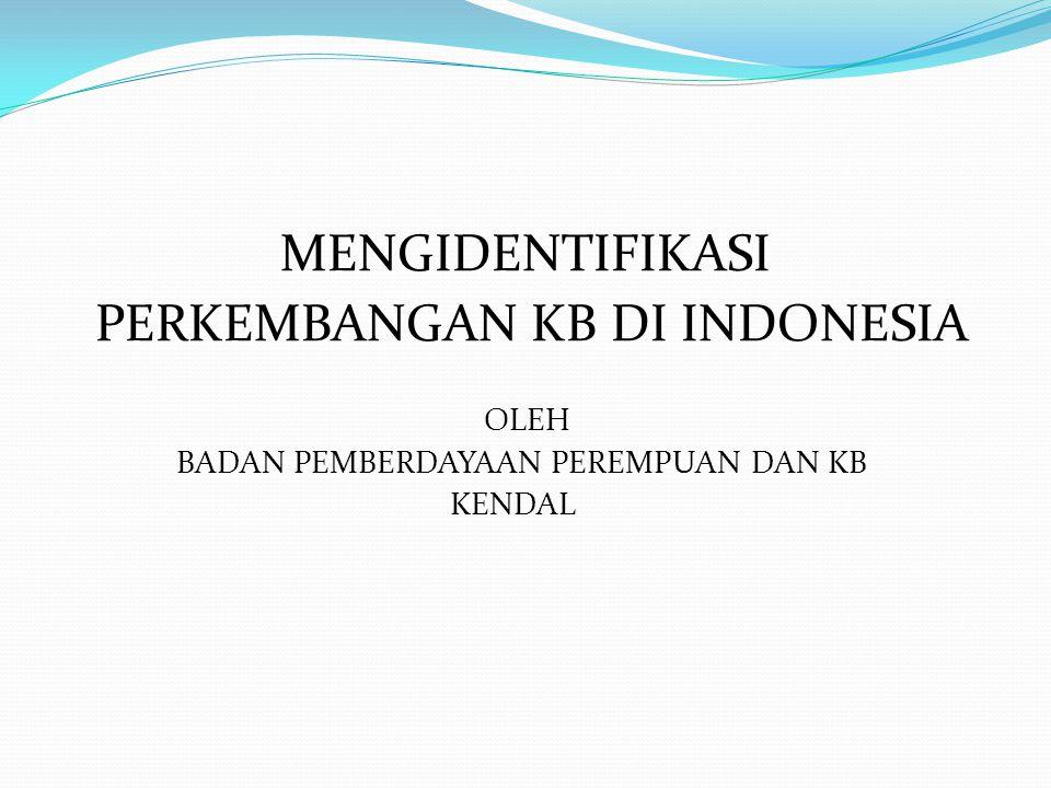 PERKEMBANGAN KB DI INDONESIA