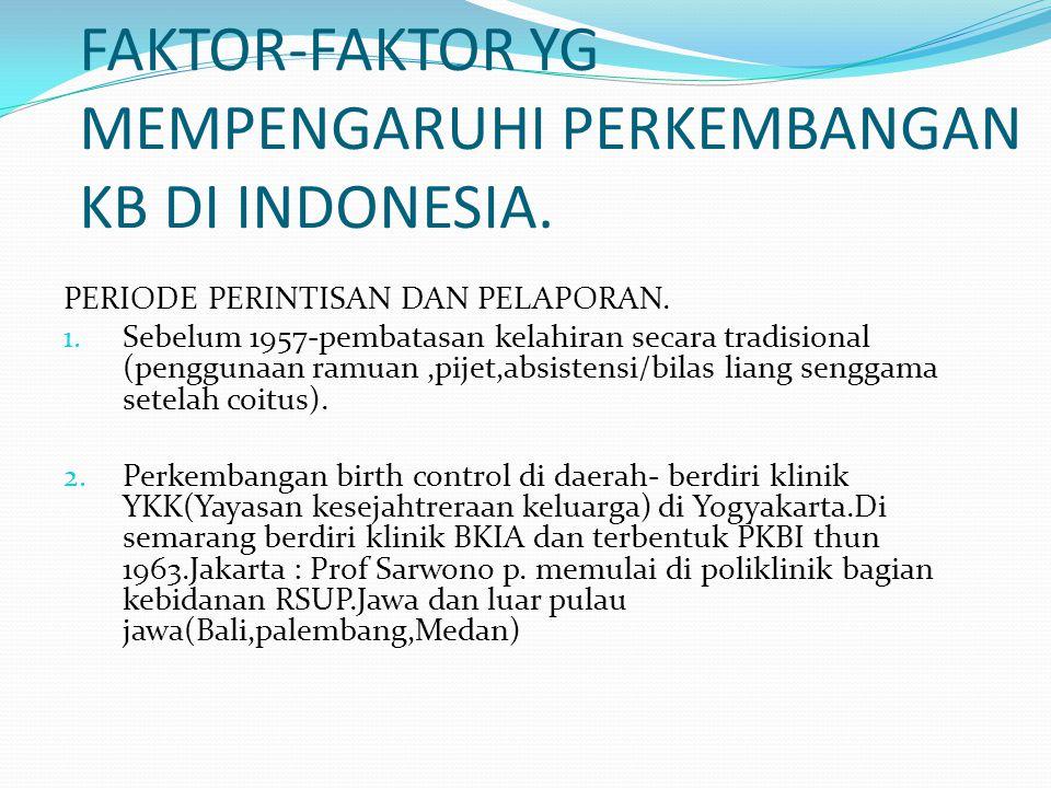 FAKTOR-FAKTOR YG MEMPENGARUHI PERKEMBANGAN KB DI INDONESIA.