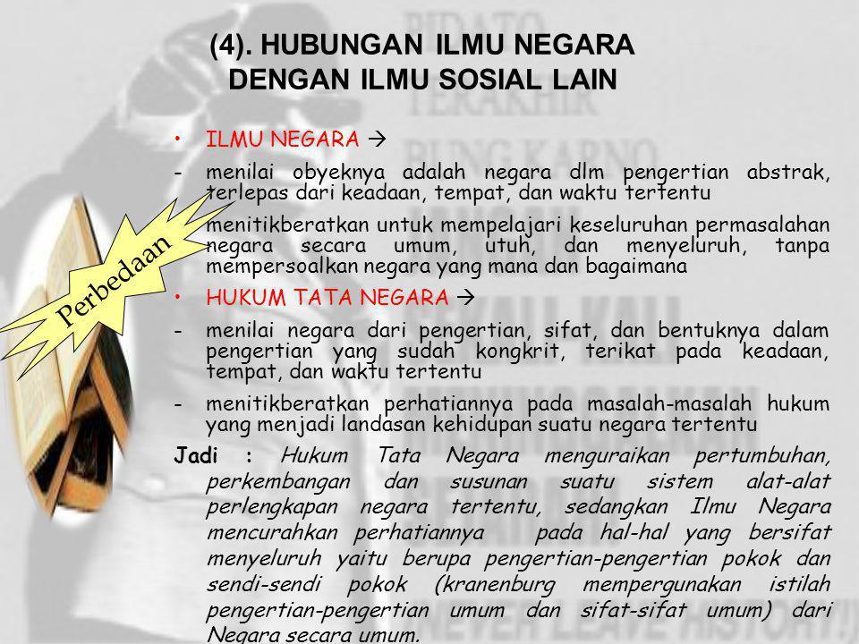(4). HUBUNGAN ILMU NEGARA DENGAN ILMU SOSIAL LAIN