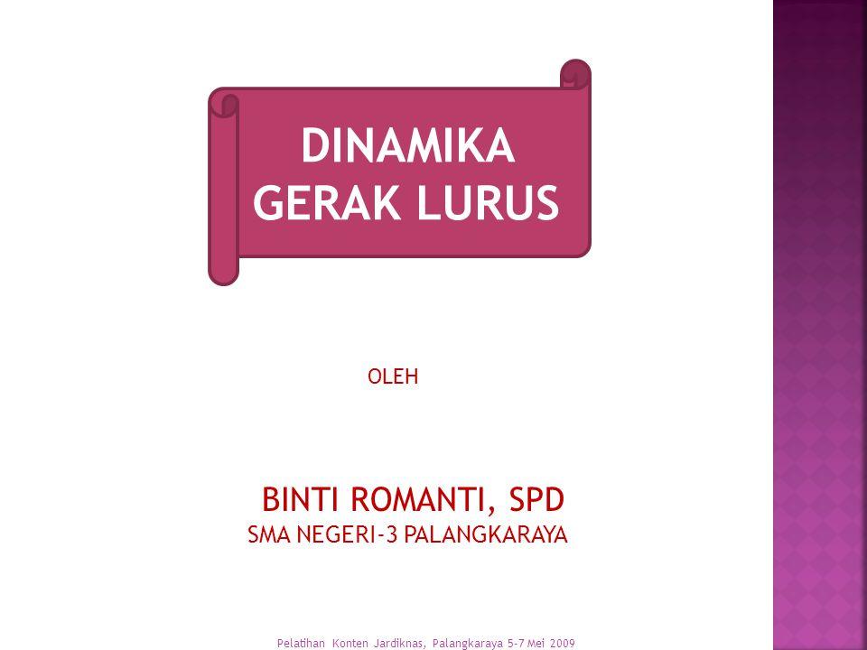 DINAMIKA GERAK LURUS BINTI ROMANTI, SPD SMA NEGERI-3 PALANGKARAYA OLEH