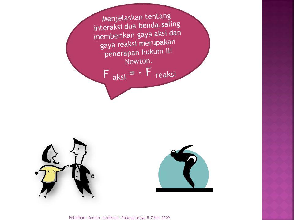 Menjelaskan tentang interaksi dua benda,saling memberikan gaya aksi dan gaya reaksi merupakan penerapan hukum III Newton.