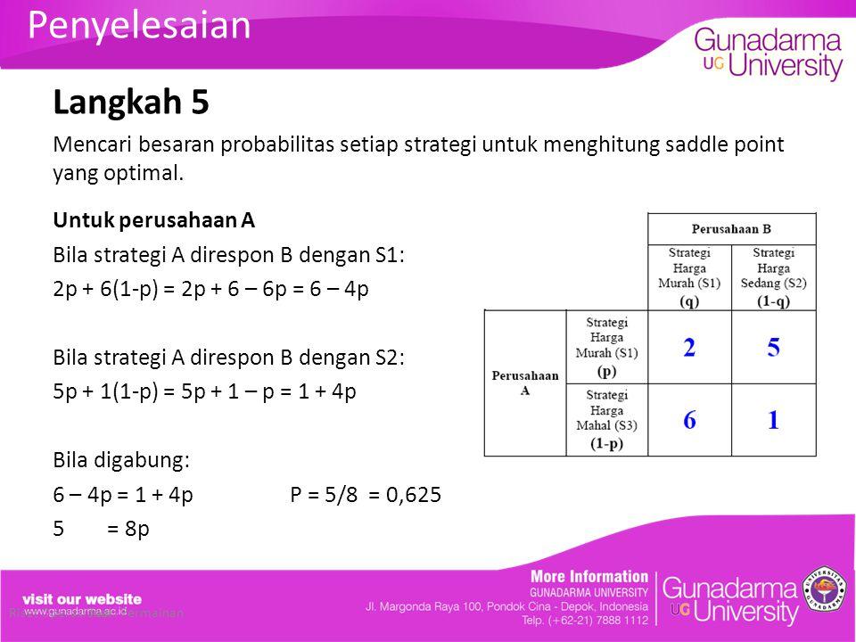 Penyelesaian Langkah 5. Mencari besaran probabilitas setiap strategi untuk menghitung saddle point yang optimal.
