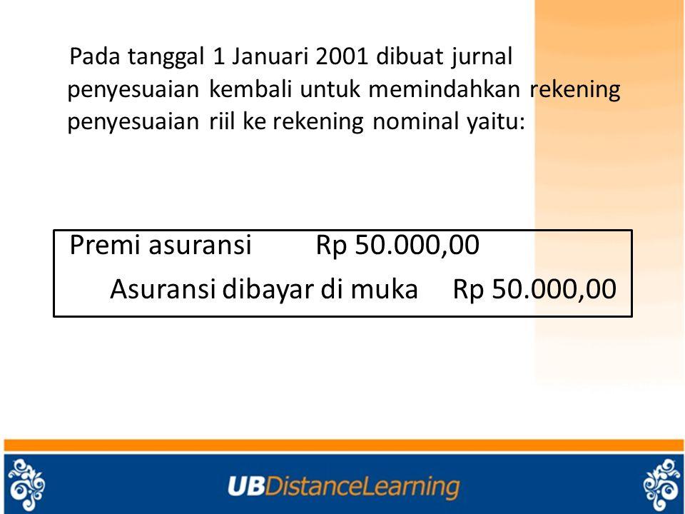 Pada tanggal 1 Januari 2001 dibuat jurnal penyesuaian kembali untuk memindahkan rekening penyesuaian riil ke rekening nominal yaitu: Premi asuransi Rp 50.000,00 Asuransi dibayar di muka Rp 50.000,00