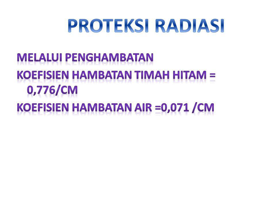 PROTEKSI RADIASI MELALUI PENGHAMBATAN KOEFISIEN HAMBATAN timah hitam = 0,776/cm Koefisien hambatan air =0,071 /cm