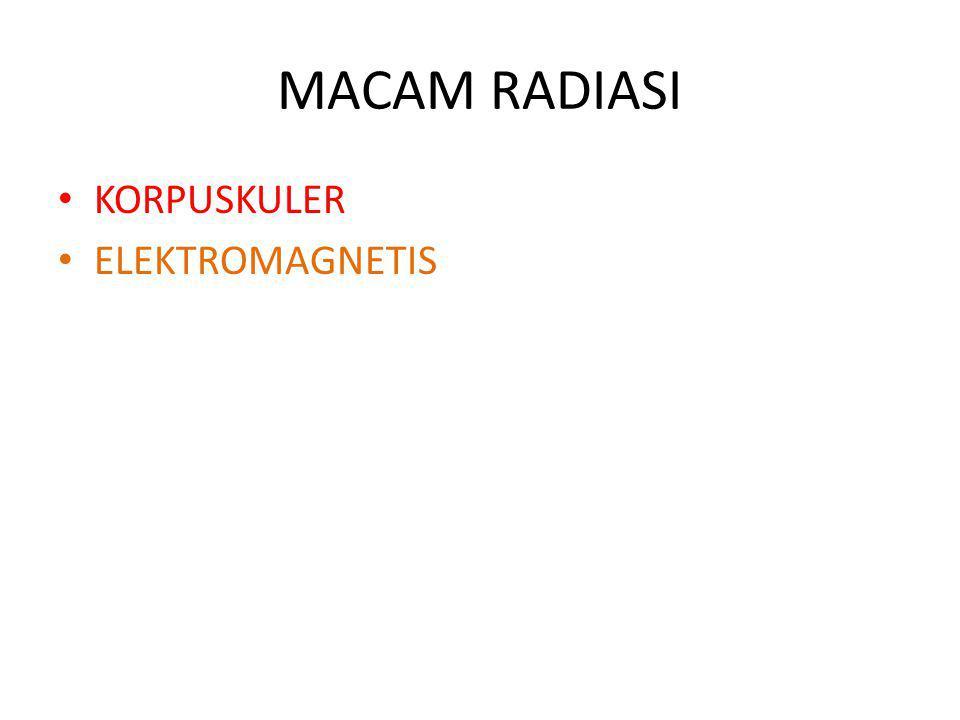 MACAM RADIASI KORPUSKULER ELEKTROMAGNETIS