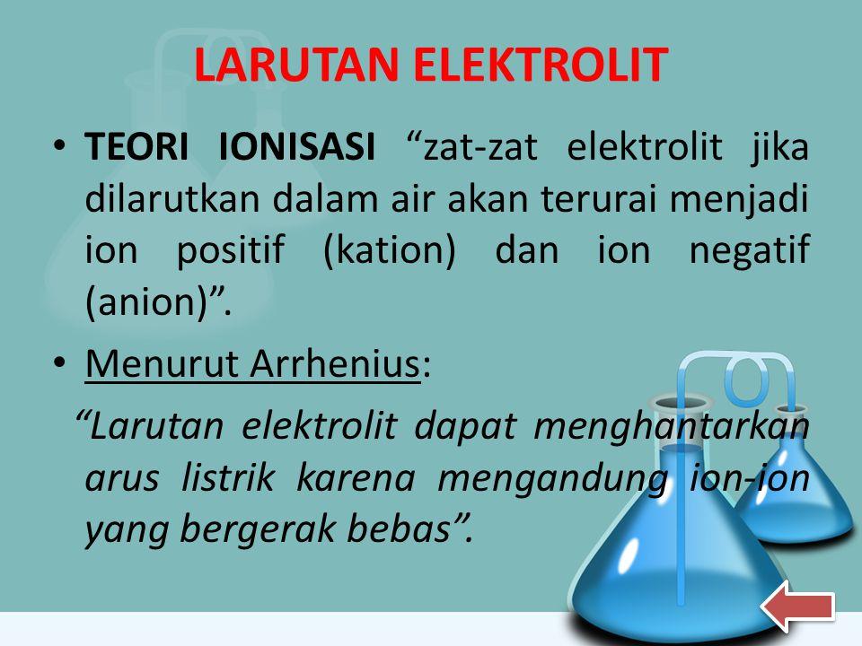 LARUTAN ELEKTROLIT TEORI IONISASI zat-zat elektrolit jika dilarutkan dalam air akan terurai menjadi ion positif (kation) dan ion negatif (anion) .
