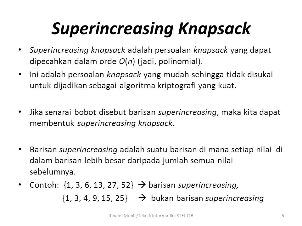 Superincreasing Knapsack
