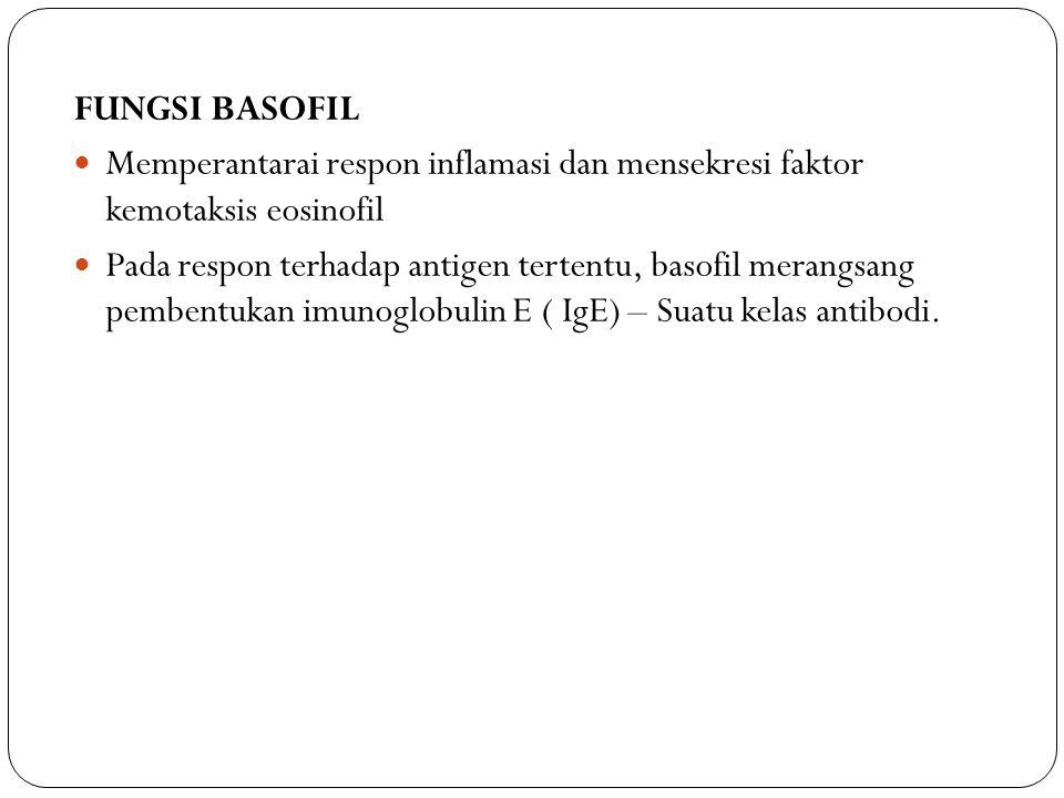 FUNGSI BASOFIL Memperantarai respon inflamasi dan mensekresi faktor kemotaksis eosinofil.