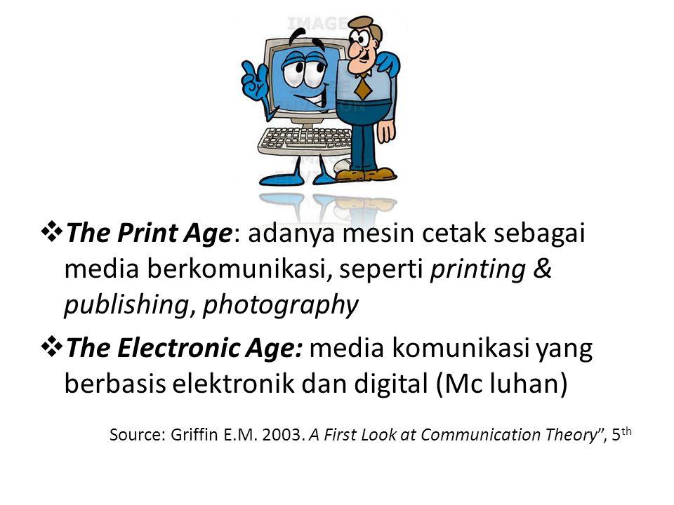 The Print Age: adanya mesin cetak sebagai media berkomunikasi, seperti printing & publishing, photography