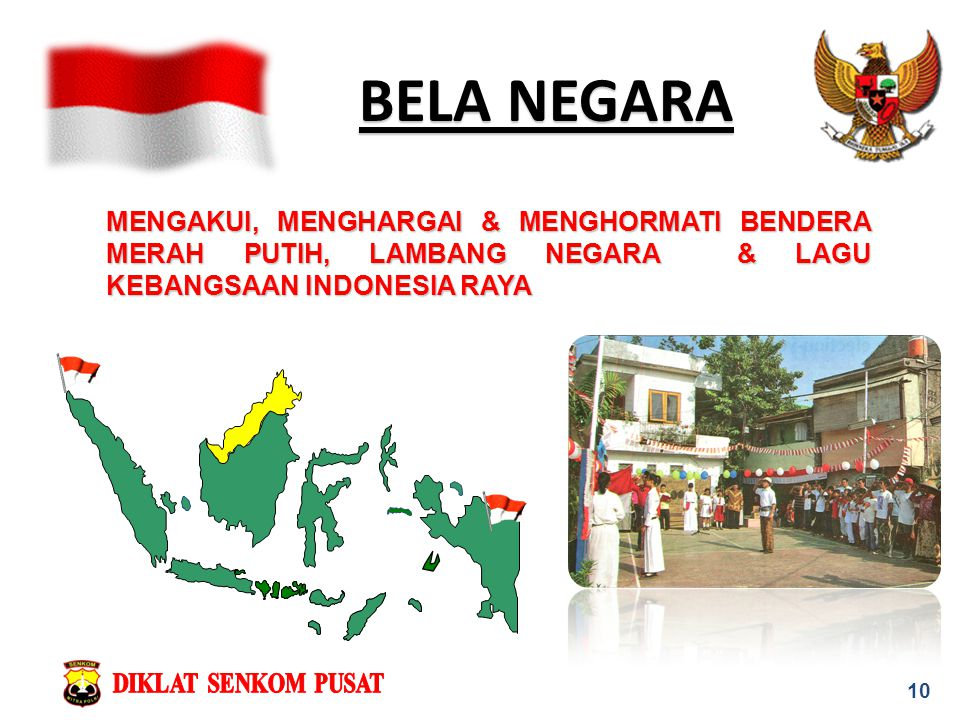 BELA NEGARA MENGAKUI, MENGHARGAI & MENGHORMATI BENDERA MERAH PUTIH, LAMBANG NEGARA & LAGU KEBANGSAAN INDONESIA RAYA.