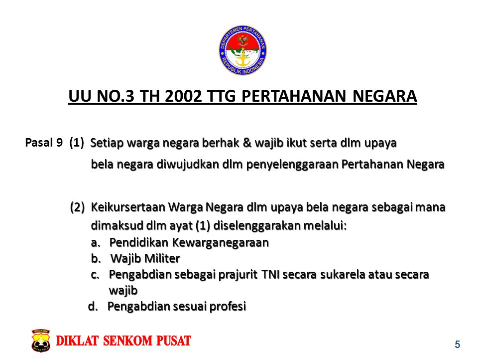 UU NO.3 TH 2002 TTG PERTAHANAN NEGARA